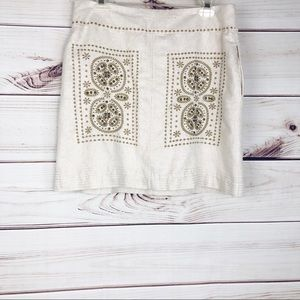 Sk42  Floreat metallic linen embroidered mini